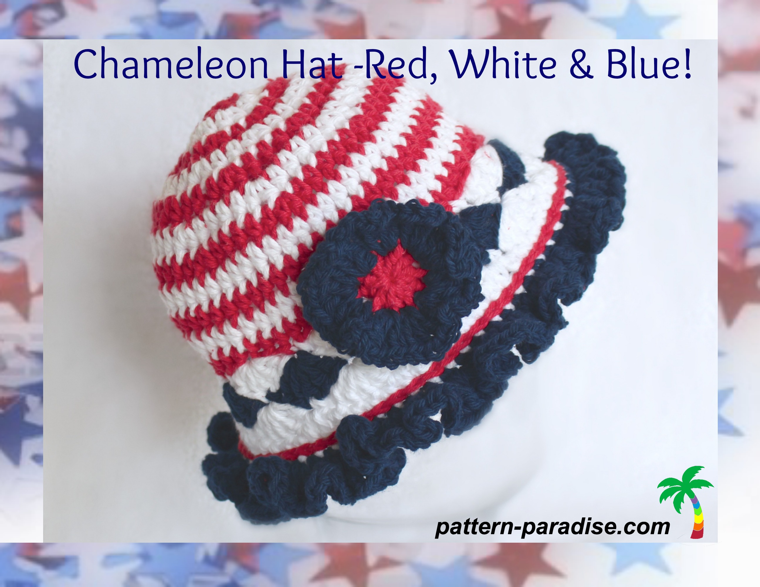 FREE Crochet Pattern - Chameleon Hat Red, White & Blue! | Pattern ...